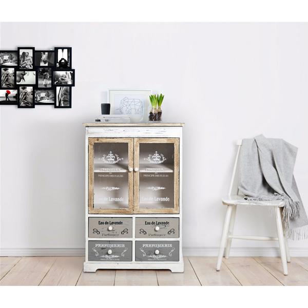Credenza mobile cucina 4 cassetti 2 ante bianco beige grigio vintage cucina sala ebay - Profondita mobili cucina ...