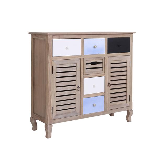 Credenza mobile vintage shabby legno 6 cassetti 2 ante for Paulownia legno mobili