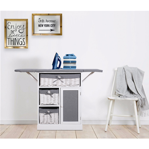 Mobili rebecca ironing board center storage cabinet white for Center mobili outlet
