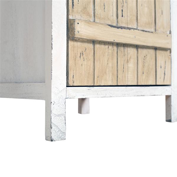 Mobili Rebecca® Kommode 1 Schublade 1 Tür Herz Ornamente Holz Braun Weiß Shabby  Schlafzimmer Bad