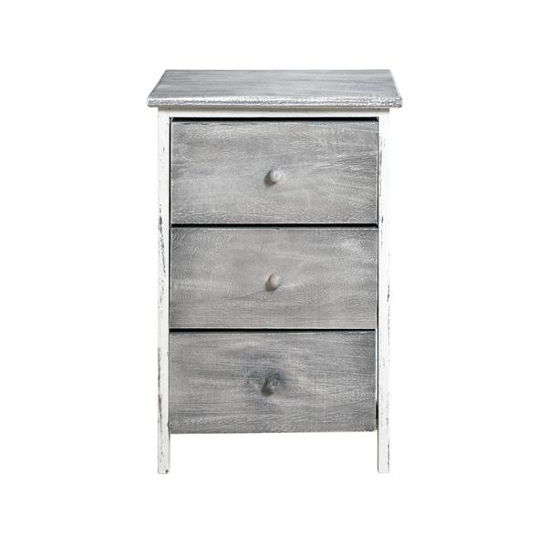 mobili rebecca kommode nachttisch 3 schubladen holz grau vintage schlafzimmer ebay. Black Bedroom Furniture Sets. Home Design Ideas