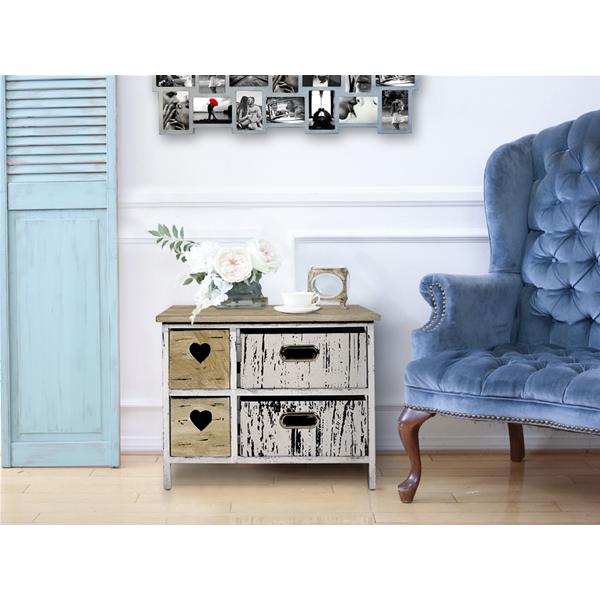 Mobili Rebecca® Kommode Nachttisch 4 Schublade Holz Braun Weiß Vintage  Shabby Schlafzimmer Küche