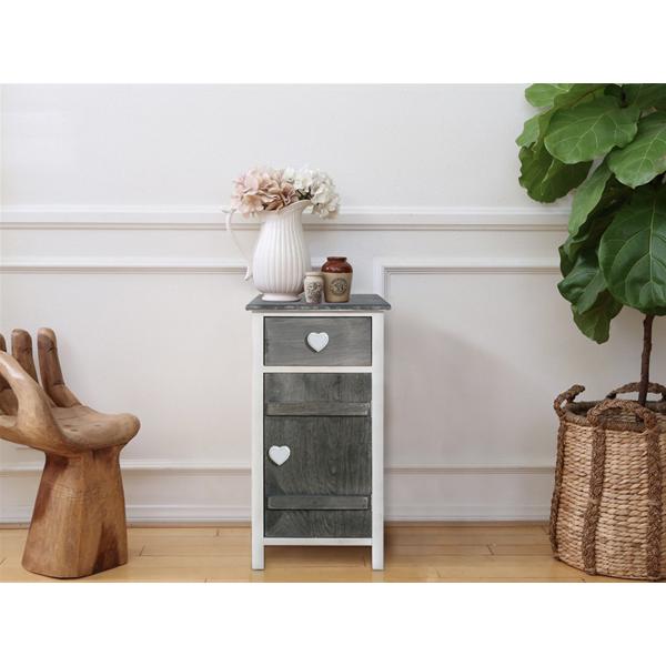 mobili rebecca kommode schrank 1 t r holz grau wei shabby herz vintage k che ebay. Black Bedroom Furniture Sets. Home Design Ideas