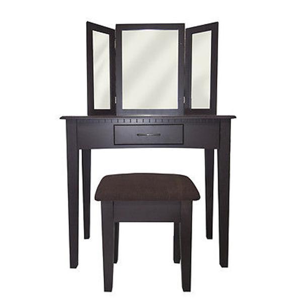 Großartig Mobili Rebecca® Kosmetiktisch Braun Modern 3 Spiegel Hocker Bad Schlafzimmer