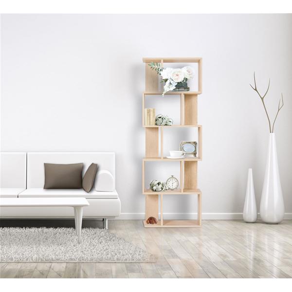 Libreria scaffale 5 ripiani legno beige design moderno for Mobili salone moderno