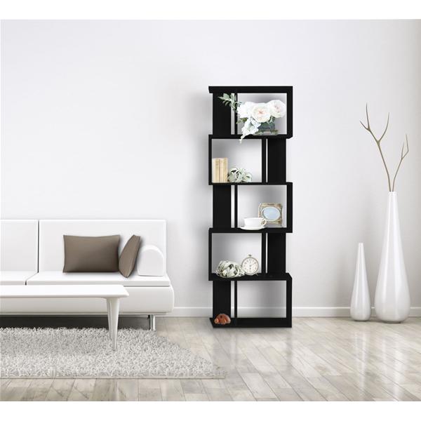 Libreria scaffale 5 ripiani legno nero stile moderno for Libreria soggiorno moderno