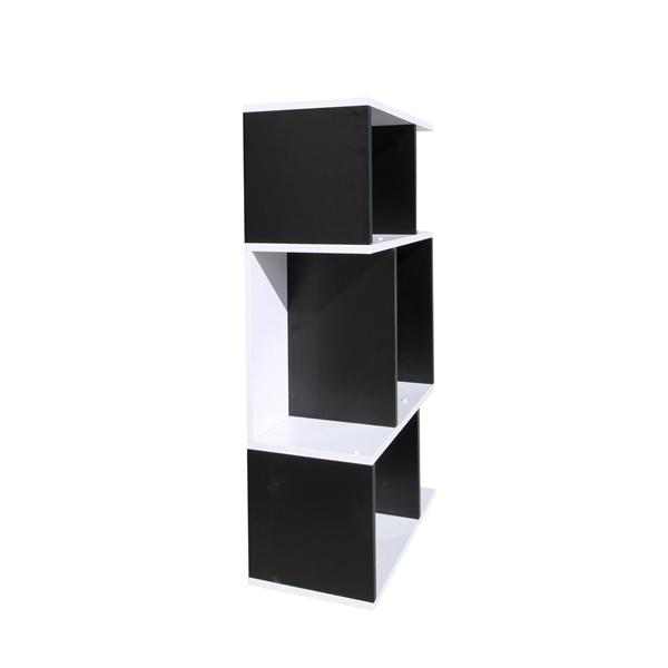 Mobili rebecca libreria scaffale bianco nero 3 ripiani for Arredamento in saldo
