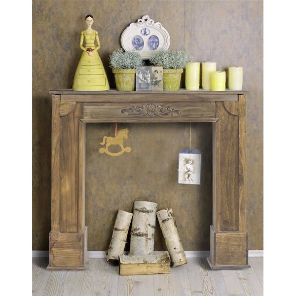 Mobili rebecca marco chimenea decorativa madera marron estilo decapado salon ebay - Marco de chimenea ...