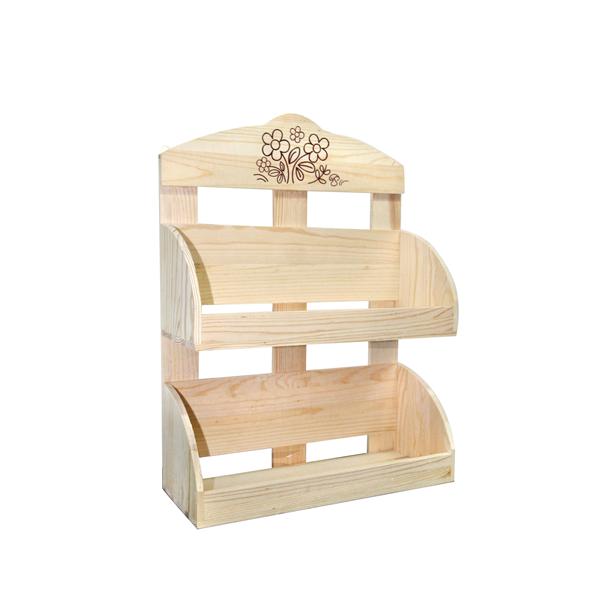 Scaffali mensole legno naturale chiaro 2 ripiani rustico - Scaffale per cucina ...