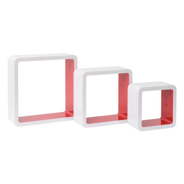 Mensole set 3 cubi bianco interno rosso arredamento for Cubi mensole