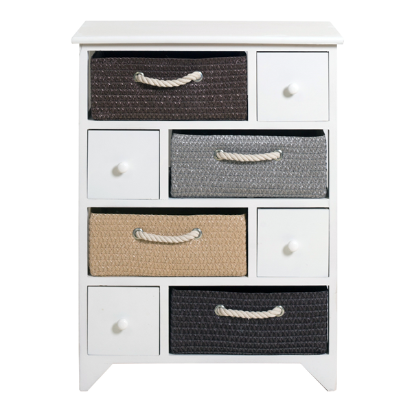 Mobili rebecca meuble de rangement buffet 8 tiroirs bois for Meuble tiroir osier blanc