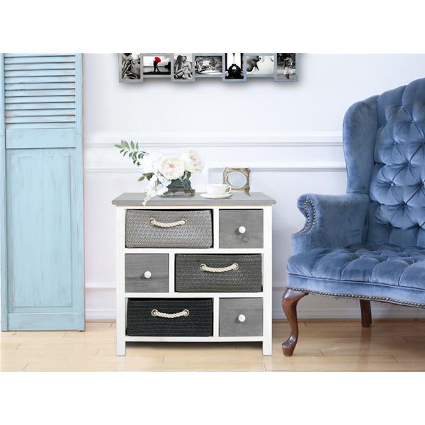 mobili rebecca meuble de rangement commode 6 tiroir bois osier gris blanc urban ebay