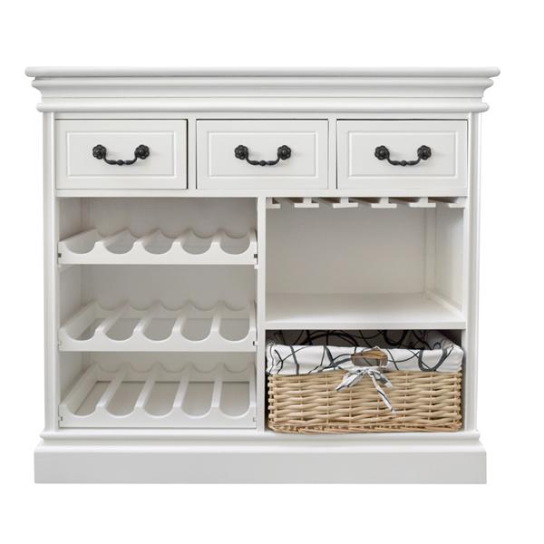 Mobile cantinetta portabottiglie in legno bianco 3 for Mobili salotto legno