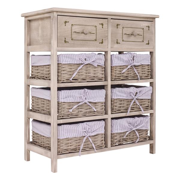 Mobile credenza 2 cassetti 6 ceste legno vimini beige for Paulownia legno mobili