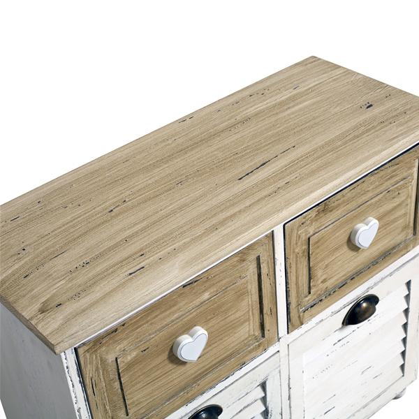 Mobile credenza 4 cassetti legno naturale bianco country - Mobili bagno legno naturale ...