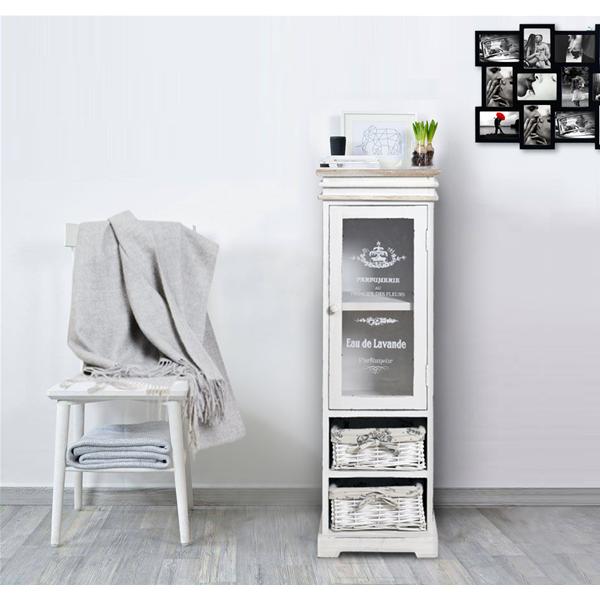 Mobile bagno bianco legno shabby chic vintage 1 anta 2 cassetti ...