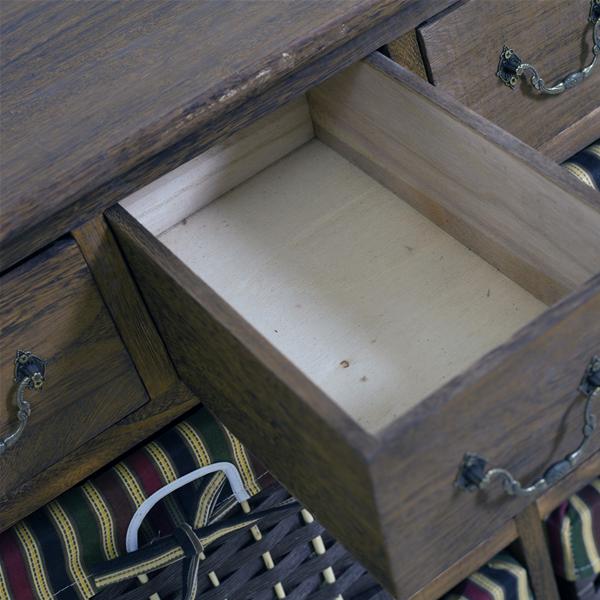 Mobiletto cassettiera 8 cassetti legno vimini marrone for Mobiletto bagno vimini