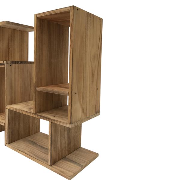 Mobili rebecca mobiletto libreria legno marrone stile for Mobili salotto legno