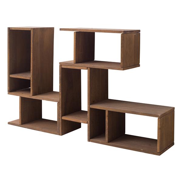Mobili rebecca mobiletto scaffale legno marrone stile for Mobili salotto legno