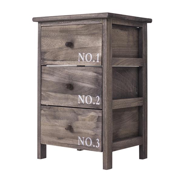 mobili rebecca nachttisch badm bel nachtschrank 3 schubladen holz grau landhaus ebay. Black Bedroom Furniture Sets. Home Design Ideas