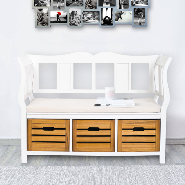 Panca contenitore 3 cassetti legno bianco marrone shabby - Coin casa mobili ...
