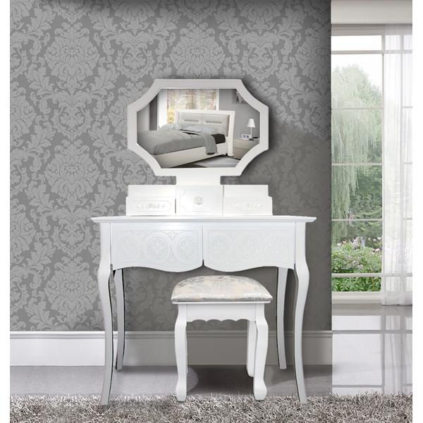 Pettiniera specchiera bianca 5 cassetti specchio for Specchio esagonale
