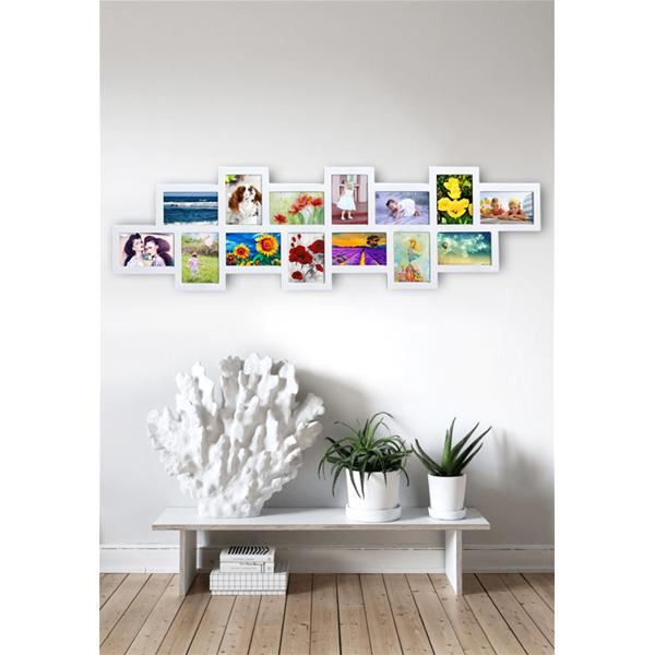 Portafoto multiplo mosaico 14 foto bianco cornice in legno for Portafoto parete