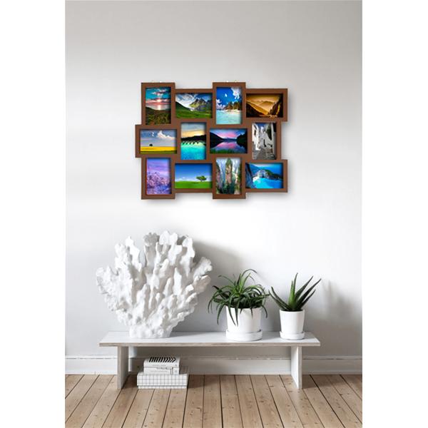 Portafoto multiplo da parete 12 foto legno marrone vintage - Portafoto multipli da parete ...