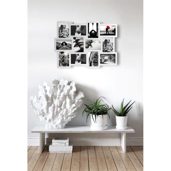 Portafoto 12 foto bianco cornice multipla arredo casa - Cornici portafoto da parete ...