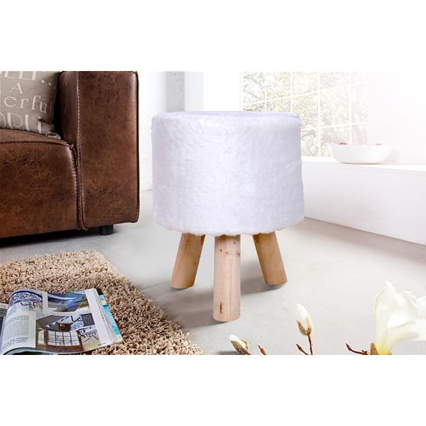 Mobili Rebecca® Pouf Poggiapiedi Pelo Bianco Vintage Living Camera ...