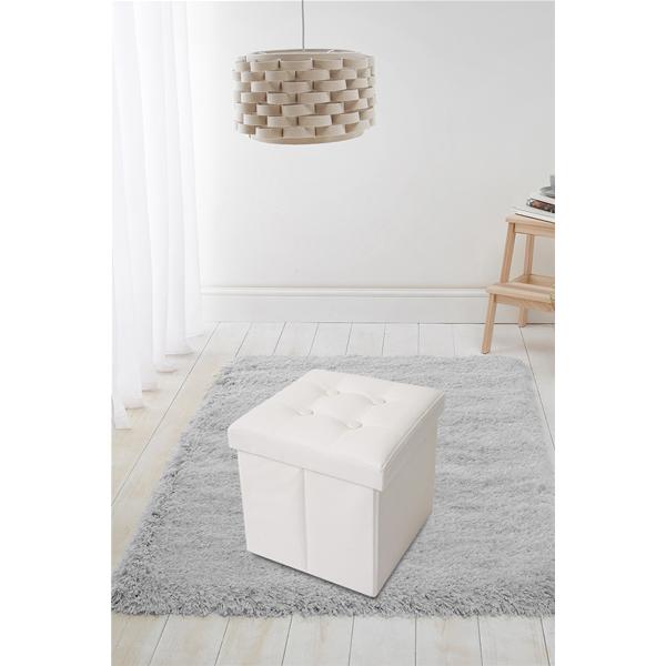 Puff Sgabello Baule bianco Cubo Design Arredamento Moderno Salotto ...