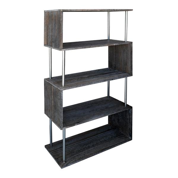 Scaffale libreria 4 ripiani legno grigio chiaro design for Paulownia legno mobili