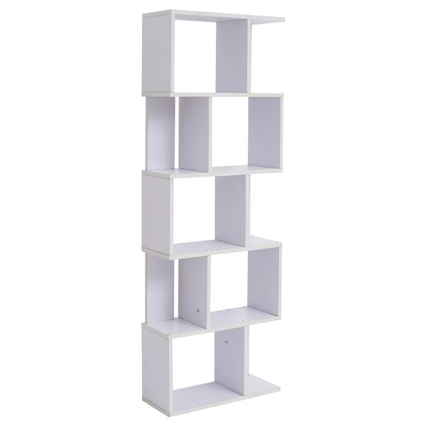 scaffale libreria 5 ripiani legno bianco stile urban