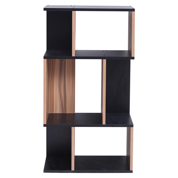 Scaffale per libri libreria 4 mensole legno nero marrone for Libreria mensole