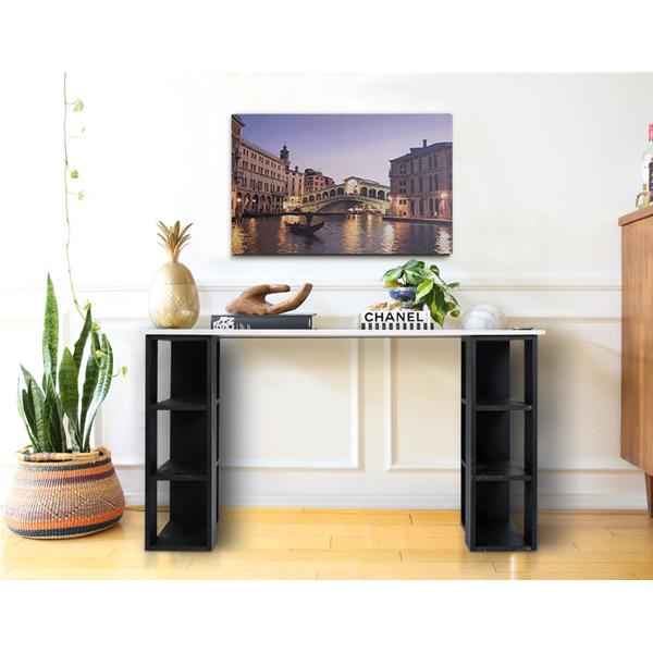 mobili rebecca scrittoio scrivania legno bianco nero