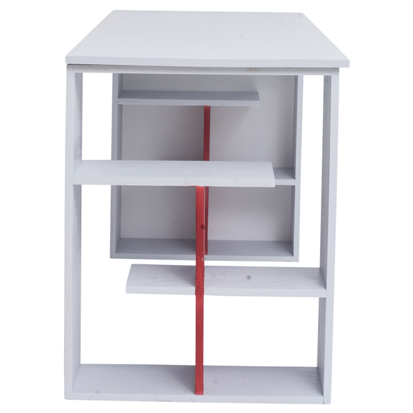 Mobili rebecca scrivania pc tavolo ufficio con mensole for Mensole legno bianco