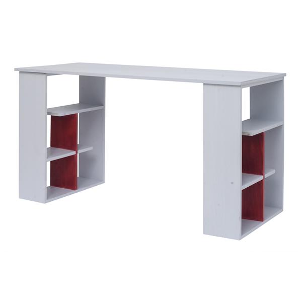 scrivania pc tavolo ufficio con mensole legno bianco rosso