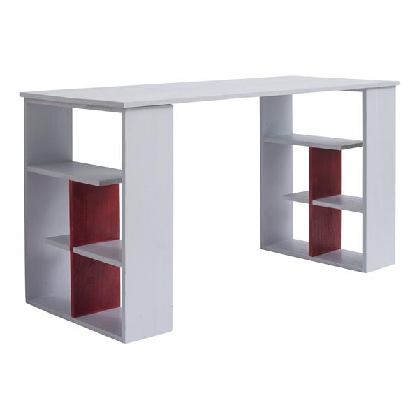 Scrivania pc tavolo ufficio con mensole legno bianco rosso for Mobili rebecca