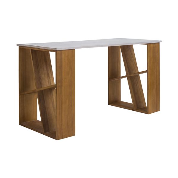 Mobili rebecca scrivania scrittoio legno bianco marrone for Mobili studio casa