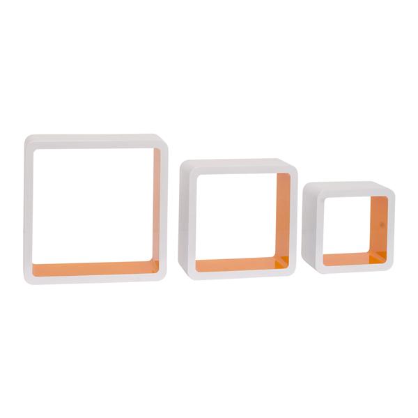 Set 3 cubi mensole legno bianco arancione design urban for Cubi mensole