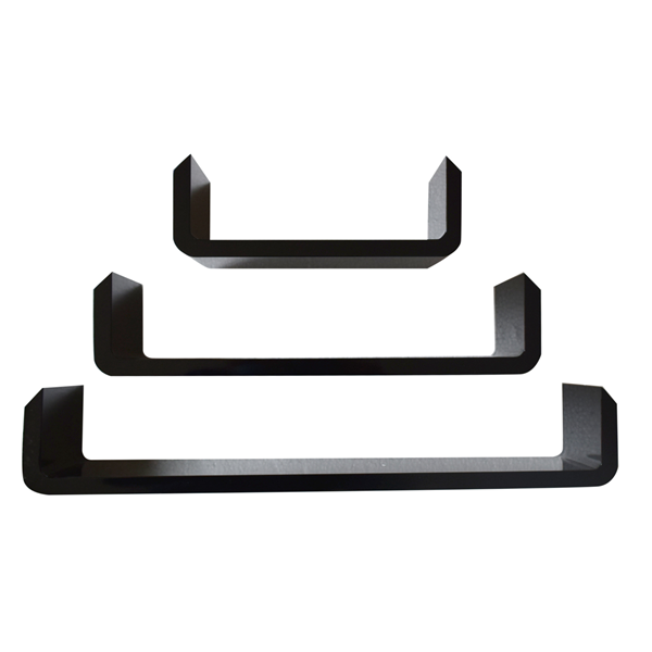 Mobili rebecca set 3 mensole da parete ripiani legno nero for Arredamento mensole a parete