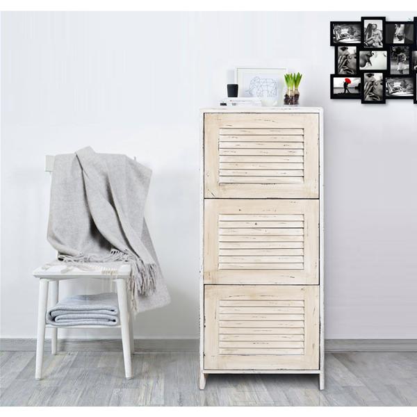 Mobili Rebecca® Shoe Rack Home Storage Unit 3 Drawers Beige Wooden ...