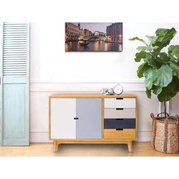 Mobili Rebecca® Sideboard Küche Vintage Holz mehrfarbig 4 Schublade ...