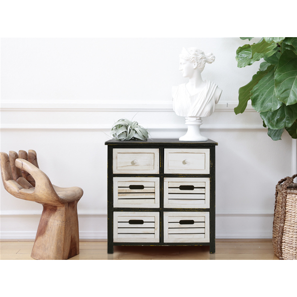 mobili rebecca sideboard kommode 6 schubladen holz wei grau vintage bad k che ebay. Black Bedroom Furniture Sets. Home Design Ideas