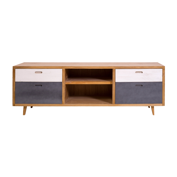 mobili rebecca sideboard m bel 4 schubladen 2 regale holz braun grau retro k che ebay. Black Bedroom Furniture Sets. Home Design Ideas