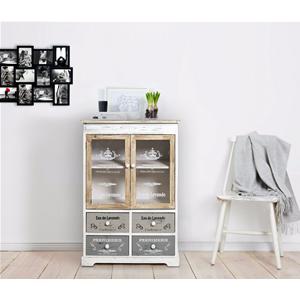 Details zu Mobili Rebecca Sideboard 4 Schubladen 2 Türe weiß beige grau  Shabby 81x58x29