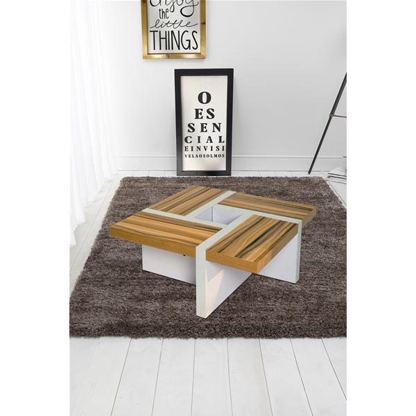 Mobili Rebecca® Table Basse Table de Salon Bois Brun Blanc Style  Contemporain Salle Living 6fc7ea13cc08