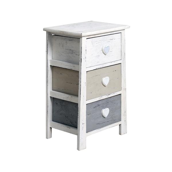 mobili rebecca table de chevet 3 tiroirs bois blanc gris. Black Bedroom Furniture Sets. Home Design Ideas