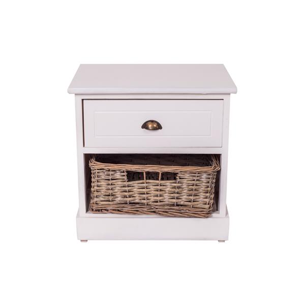 Mobili Rebecca® Table de Nuit Chevet 1 Panier 1 Tiroir URBAN Bois Osier  Blanc Vintage Chambre 22a58b0ac353