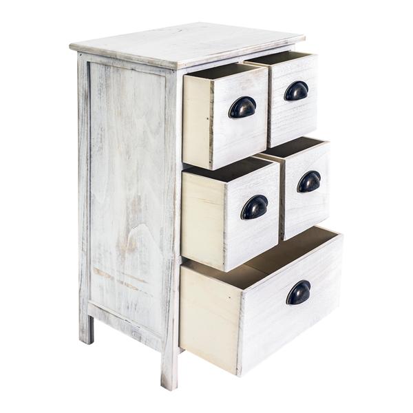 mobili rebecca table de nuit chevet 5 tiroir bois blanc. Black Bedroom Furniture Sets. Home Design Ideas